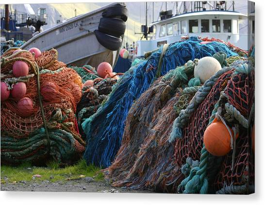 Fishing Boats Canvas Print - Dutch Harbor Fishing Nets And Boats by Adam Shaw