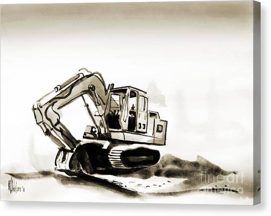 Backhoes Canvas Print - Duty Dozer In Sepia by Kip DeVore
