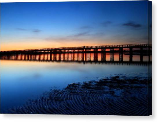 Duxbury Beach Powder Point Bridge Twilight Canvas Print