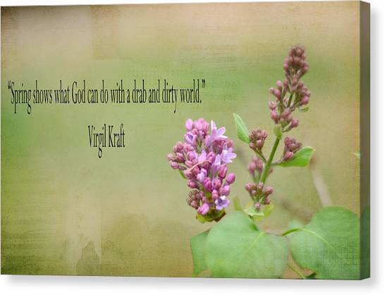 Dwarf Lilac With Verse Canvas Print