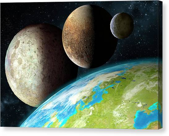 Pluto Canvas Print - Dwarf Planets by Mark Garlick/science Photo Library