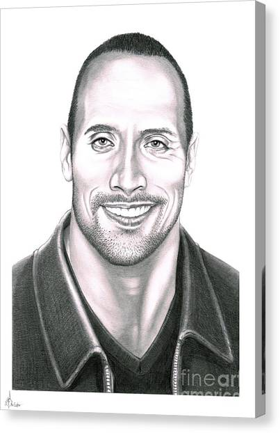 Dwayne Johnson Canvas Print - Dwayne Johnson The Rock by Murphy Elliott