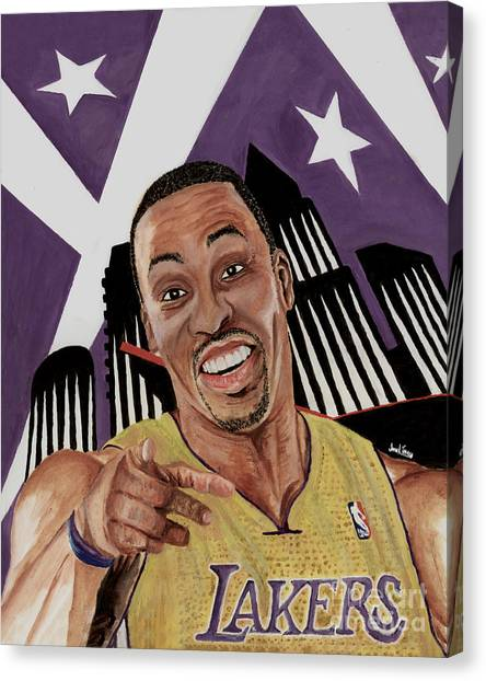 Dwight Howard Canvas Print - Dwight Howard Welcome To The  Lake Show by Israel Torres