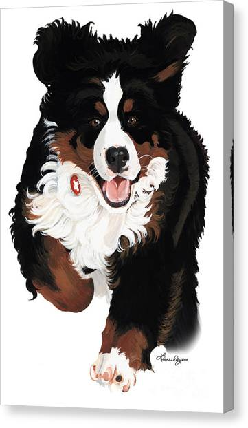 Bernese Mountain Dogs Canvas Print - Dylan Rocks by Liane Weyers