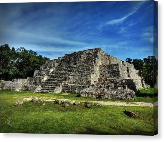 Canvas Print featuring the photograph Dzibilchaltun Pyramid 002 by Lance Vaughn