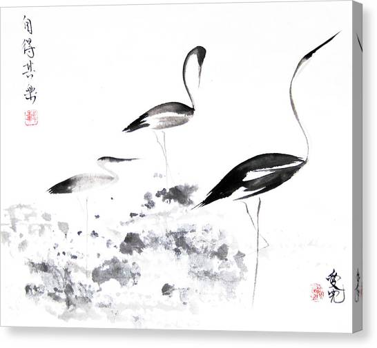 Egrets Canvas Print - Each Finds Joy In His Own Way by Oiyee At Oystudio