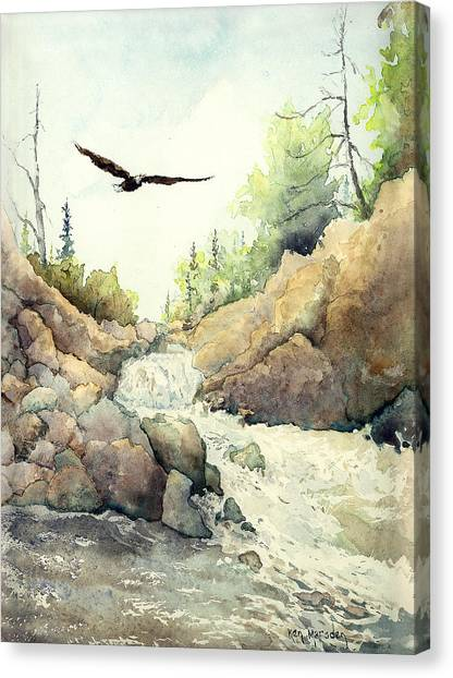 Eagle Over Dave's Falls Canvas Print