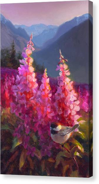 Eagle River Summer Chickadee And Fireweed Alaskan Landscape Canvas Print