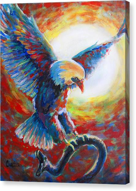 Prophetic Art Canvas Print - Eagle Takes Charge by Tamer and Cindy Elsharouni