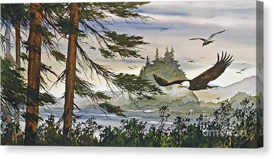 Eagle In Flight Canvas Print - Eagles Majestic Flight by James Williamson