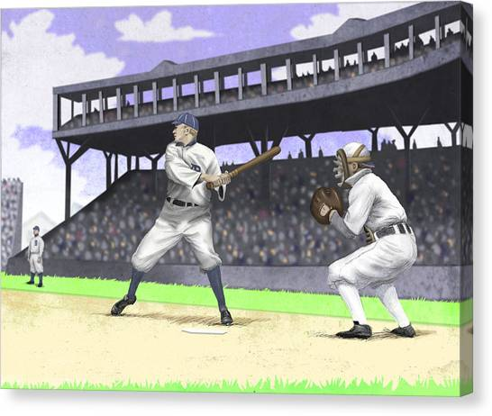 Detroit Tigers Canvas Print - Early Baseball by Steve Dininno
