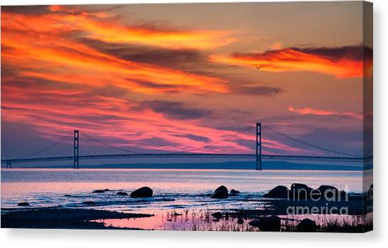 Lake Michigan Canvas Print - Early Bird Big Mac by Todd Bielby