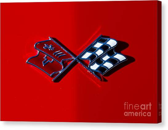 Early C3 Corvette Emblem Red Canvas Print