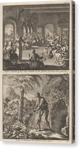 Early Christian Art Canvas Print - Early Christian Community Of Women Working by Jan Luyken And Barent Visscher And Jacobus Van Hardenberg