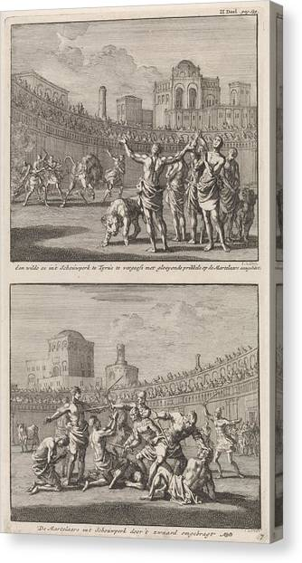 Early Christian Art Canvas Print - Early Christian Martyrs In A Roman Arena And Early by Jan Luyken And Jacobus Van Hardenberg And Barent Visscher