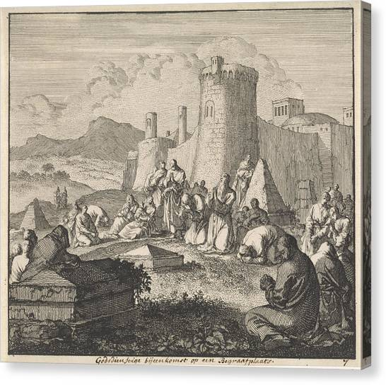 Early Christian Art Canvas Print - Early Christians Come Together At A Cemetery by Quint Lox