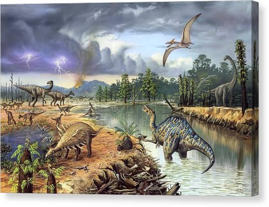 Pterodactyls Canvas Print - Early Cretaceous Life by Richard Bizley