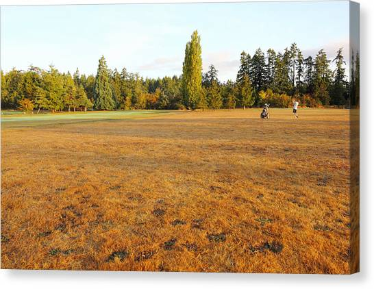 Early Fall Morning In The Rough On The Golf Course Canvas Print