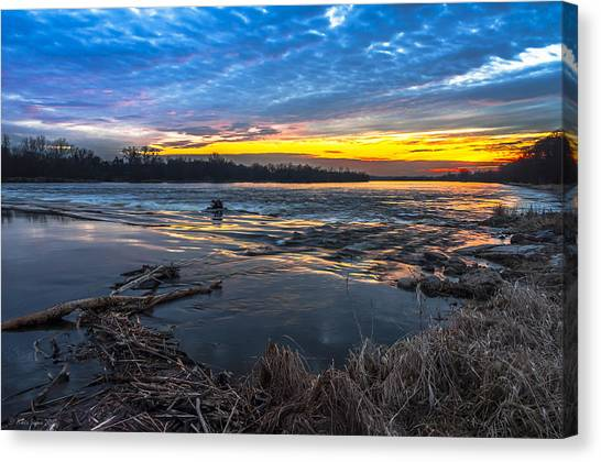 Early March Sunset Over Narew River In Poland Canvas Print