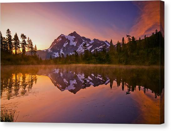 Lake Sunrises Canvas Print - Early Morning At Picture Lake by Darren  White