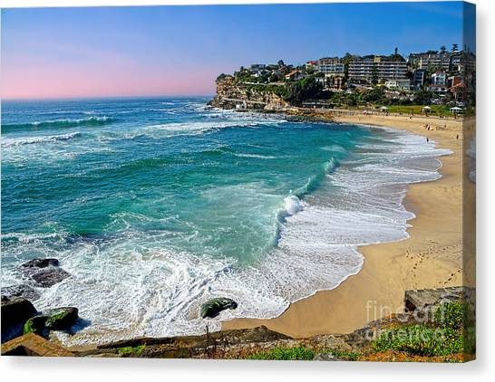 Early Morning Bronte Beach By Kaye Menner Canvas Print