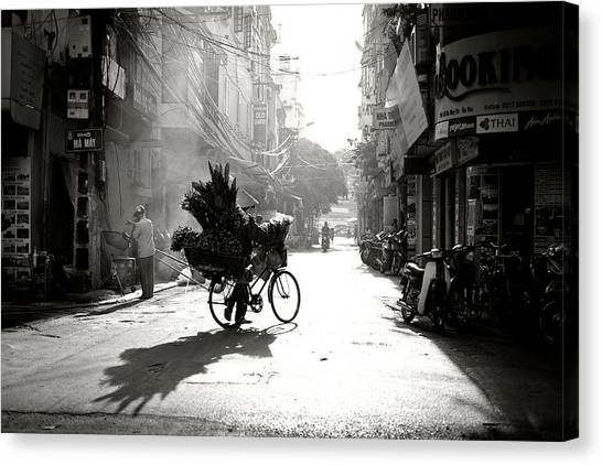 Street Canvas Print - Early Morning by Diana Popescu