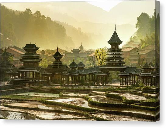 Early Morning, Entrance  Village Zhao Canvas Print by Pidjoe