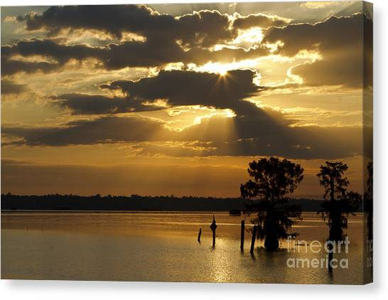 Early Morning Light At Lake Deutrive Canvas Print by Kelly Morvant