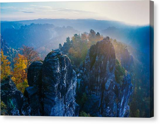 Early Morning Mist At The Bastei In The Saxon Switzerland Canvas Print