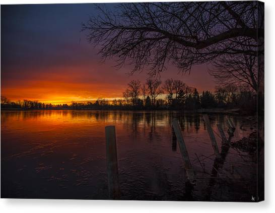 Detroit Pistons Canvas Print - Early Morning Sunrise by Nicholas  Grunas