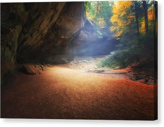 Early Pre-dawn Mist At Ash Cave Canvas Print