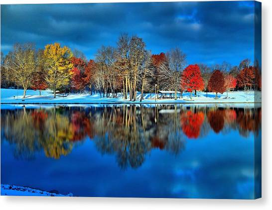 Brian Wilson Canvas Print - Early Snow At The Lake by Brian Wilson