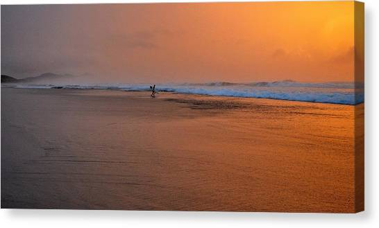 Dawn Sea Man Harmony Canvas Print
