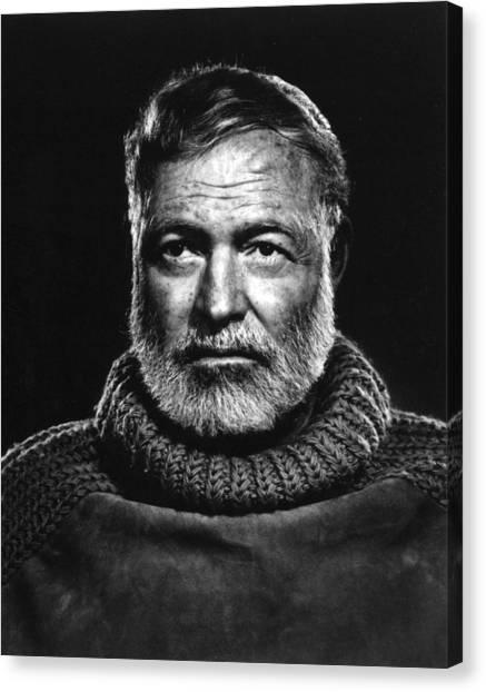 Nobel Canvas Print - Earnest Hemingway Close Up by Retro Images Archive