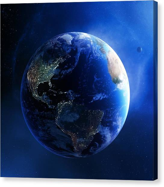 Earth Canvas Print - Earth And Galaxy With City Lights by Johan Swanepoel