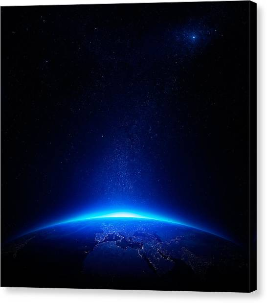 Night Canvas Print - Earth At Night With City Lights by Johan Swanepoel