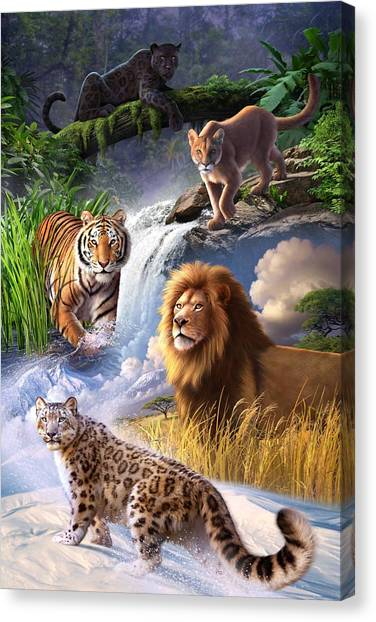 Lions Canvas Print - Earth Day 2013 Poster by Jerry LoFaro