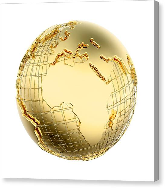Metal Canvas Print - Earth In Gold Metal Isolated - Africa by Johan Swanepoel