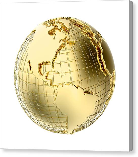 Metal Canvas Print - Earth In Gold Metal Isolated On White by Johan Swanepoel