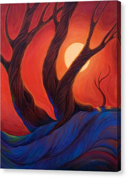 Canvas Print featuring the painting Earth  Wind  Fire by Sandi Whetzel
