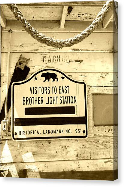 East Brother Light Station Visitor Sign Canvas Print