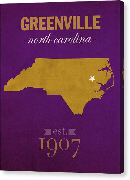 Aac Canvas Print - East Carolina University Pirates Greenville Nc College Town State Map Poster Series No 036 by Design Turnpike