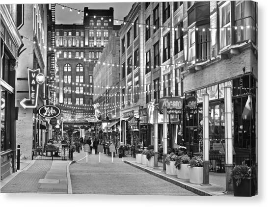 Cleveland State University Canvas Print - East Fourth Black And White by Frozen in Time Fine Art Photography