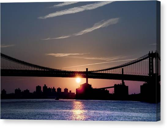 City Sunrises Canvas Print - East River Sunrise - New York City by Bill Cannon