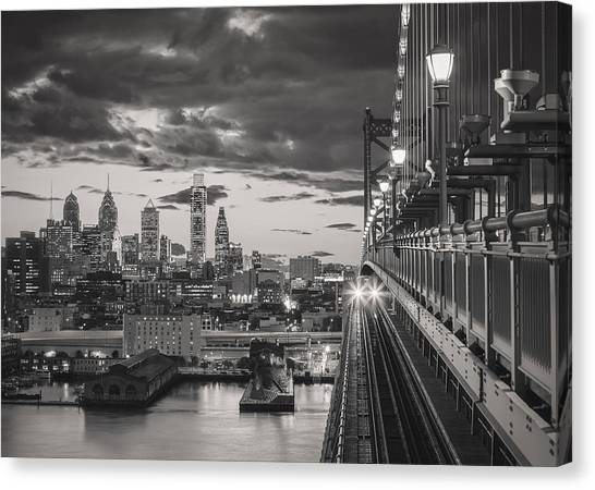 Eastbound Encounter In Black And White Canvas Print