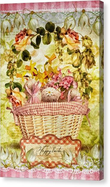 Easter Baskets Canvas Print - Easter Basket by Mo T