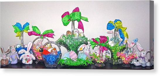 Easter Baskets Canvas Print - Easter Baskets In A Row  by Nancy Patterson
