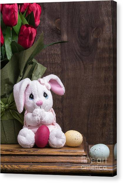 Easter Baskets Canvas Print - Easter Bunny Card by Edward Fielding