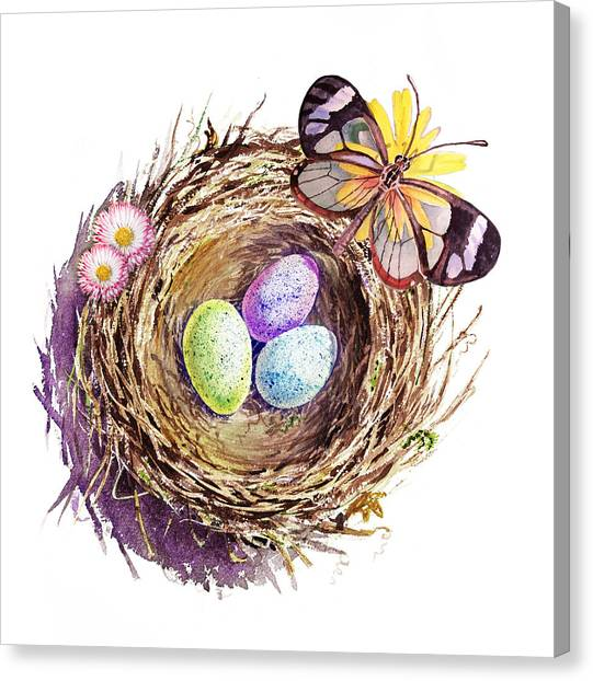 Easter Eggs Canvas Print - Easter Colors Bird Nest by Irina Sztukowski