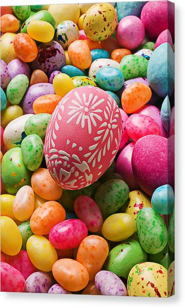 Easter Eggs Canvas Print - Easter Egg And Jellybeans  by Garry Gay